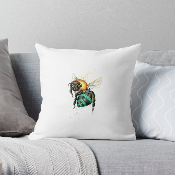 Blue Bee One  Throw Pillow