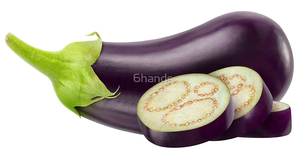 Fresh eggplant with slices by 6hands
