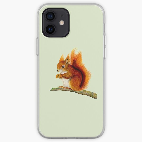 Red Squirrel Animal Watercolor Painting Wildlife Artwork iPhone Soft Case