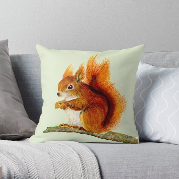 Red Squirrel Animal Watercolor Painting Wildlife Artwork Throw Pillow
