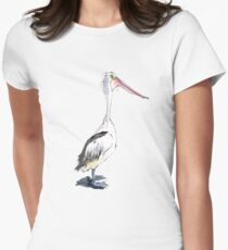 Crazy Pelly! - A Pelican illustration Women's Fitted T-Shirt