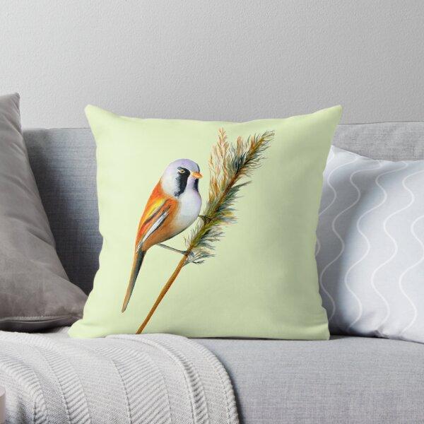 Bearded Tit Bird Watercolor Artwork Bird Art Throw Pillow