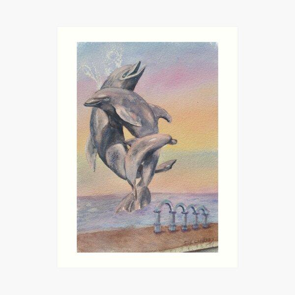 DOLPHINS - FUN IN THE SUN  Art Print