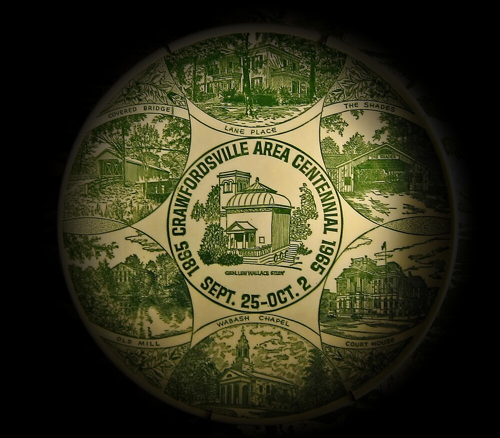 Crawfordsville Indiana Centennial Plate by Tracy DeVore