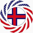 Faroe Islands American Multinational Patriot Flag Series by Carbon-Fibre Media