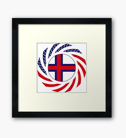 Faroe Islands American Multinational Patriot Flag Series Framed Print