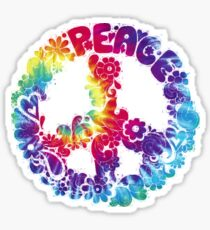 Tye dye Peace and Love TShirt with Tie Dye Peace Sign Sticker