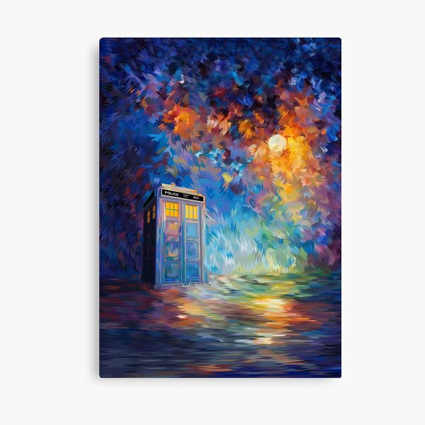 Phone box with the moon light Canvas Print