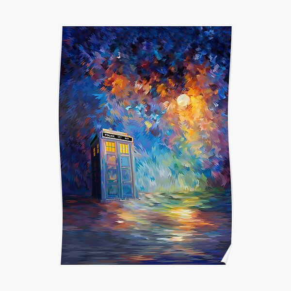 Phone box with the moon light Poster