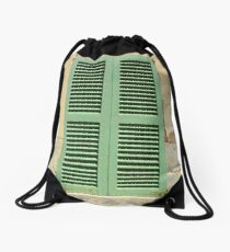 Green hatch in an old wall Drawstring Bag