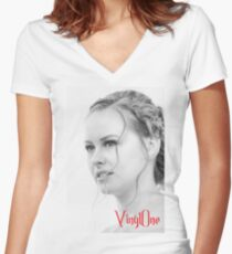 Classic portrait by Blunder for Vinylone Women's Fitted V-Neck T-Shirt