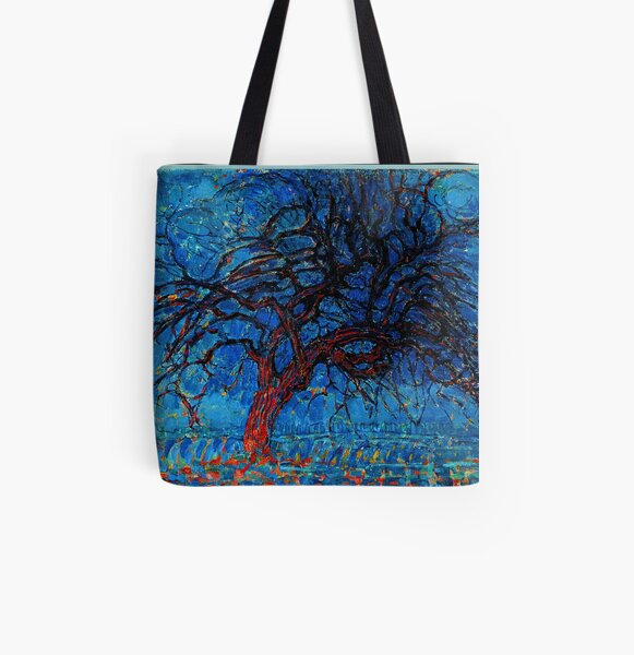Abstract Art Piet Mondrian Red Tree Tote Shopping Bag For Life