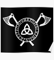 Norse Axe - Celtic Knot White Poster