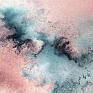 Pink and Blue Abstract Watercolor Painting by PrintsProject
