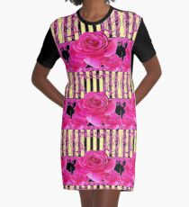 BLACK VICTORIAN STYLE PINK SPRING ROSE FLOWERS  Graphic T-Shirt Dress