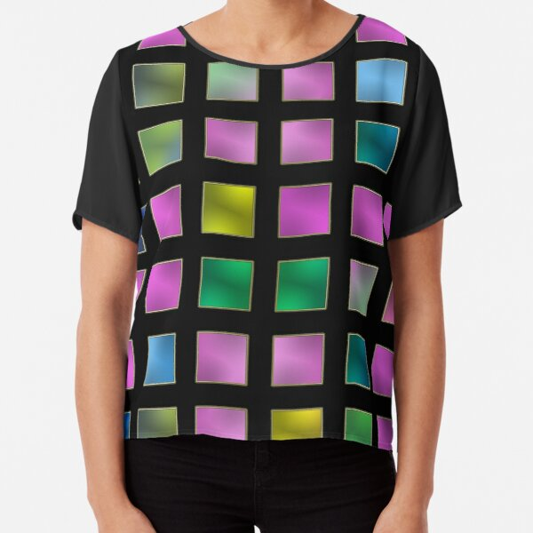 metallic variety - checkered colorful pattern Chiffon Top