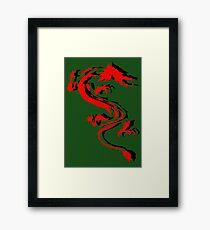 3D Double Dragon Silhouette Framed Print