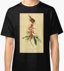 James Audubon Vector Rebuild - The Birds of America - From Drawings Made in the United States and Their Territories V 1-7 1840 - Great Carolina Wren Classic T-Shirt