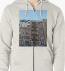 Building, Skyscraper, New York, Manhattan, Street, Pedestrians, Cars, Towers Zipped Hoodie