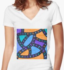 Highway of Dreams - Purple Women's Fitted V-Neck T-Shirt