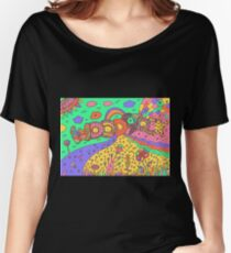 Woodstock word and landscape - psychedelic hippie art Women's Relaxed Fit T-Shirt