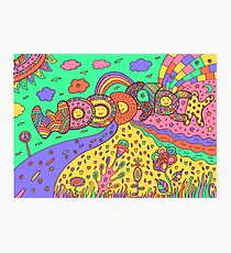 Woodstock word and landscape - psychedelic hippie art Photographic Print