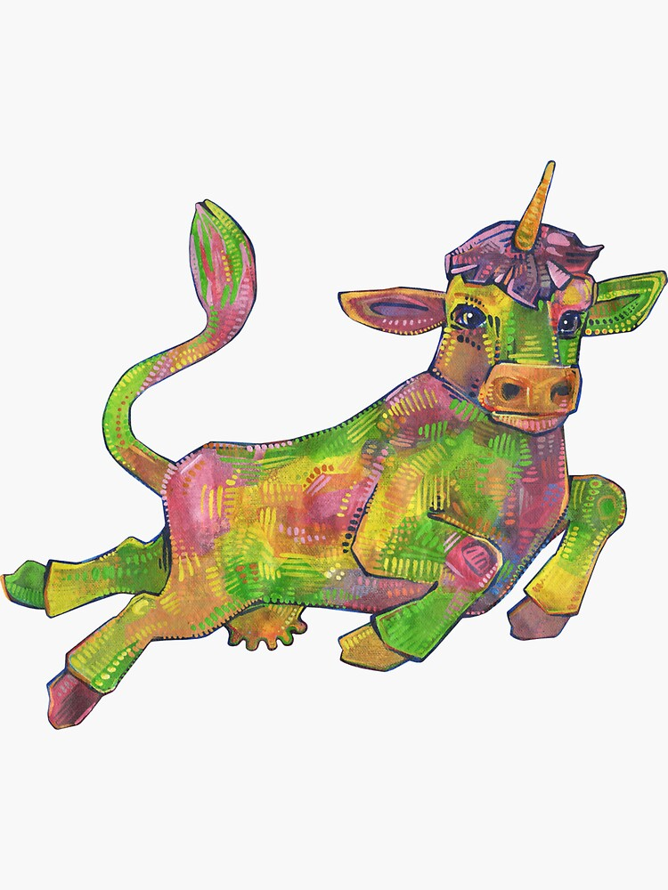 Rainbow Cow Unicorn Painting - 2018 by gwennpaints