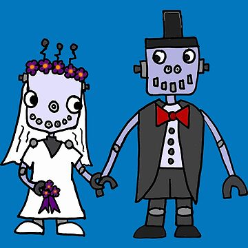 Funny Cool Robot Wedding Cartoon by dchalle