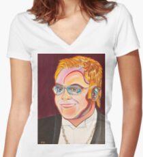Musician Portrait  Women's Fitted V-Neck T-Shirt