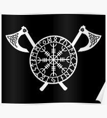 Norse Axe - Helm of Awe White Poster