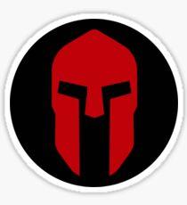 Spartan Helmet Red on Black - Corinthian Type Sticker