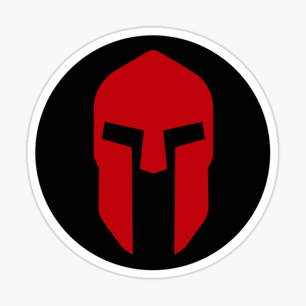 Spartan Helmet Red on Black - Corinthian Type Pegatina