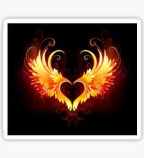 Angel Fire Heart with Wings Sticker