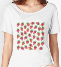 Bright Colorful Watercolor Fruity Strawberries Women's Relaxed Fit T-Shirt