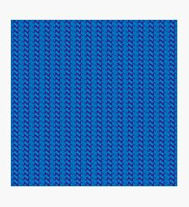 Blue knitted pattern.  Photographic Print