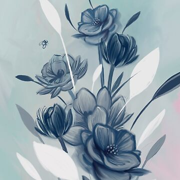 Romantic Blue Teal Oil Chic Floral Pattern by nykiway