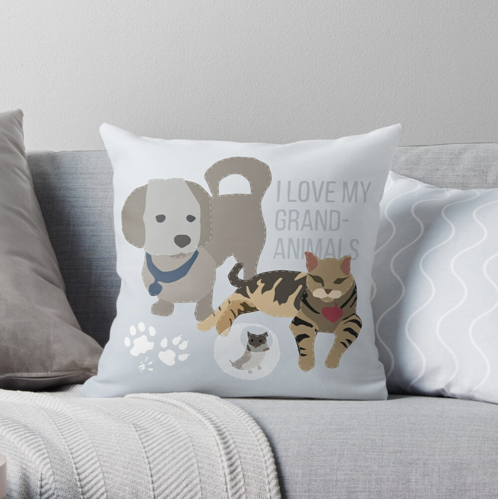 I Love my Grand-Animals Throw Pillow