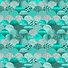 Green Turquoise Glamour Mermaid Scale Pattern by artsandsoul