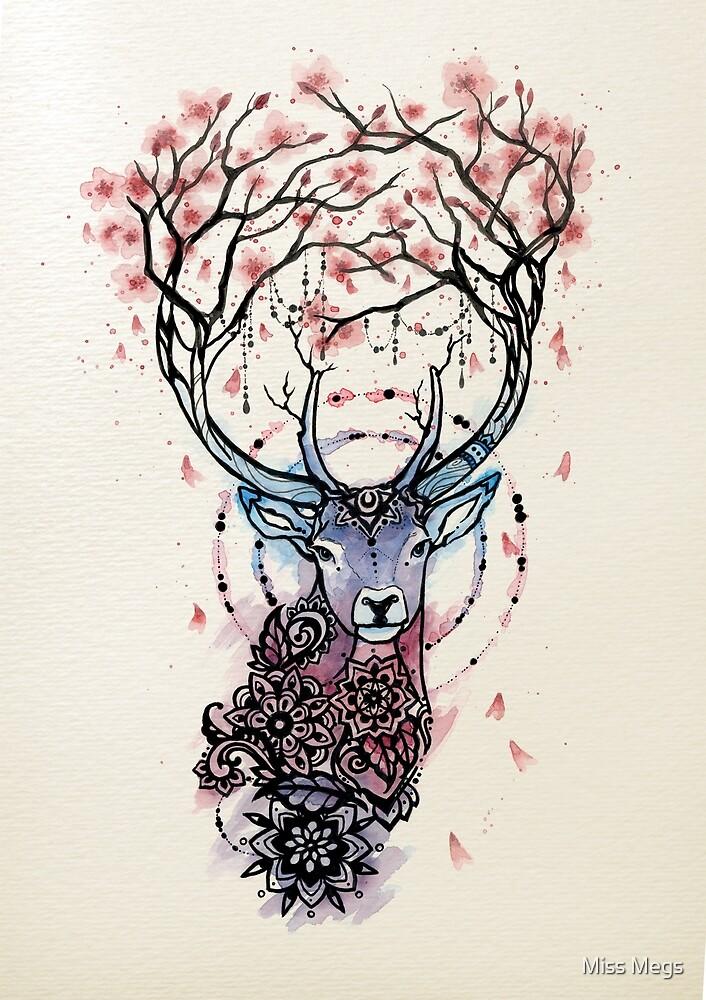Quot Watercolor Sakura Deer Quot By Miss Megs Redbubble