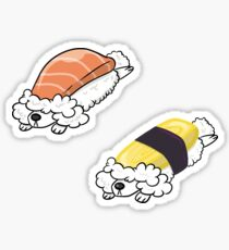 Sleepy pooshi (poodle+sushi) stickers set Sticker