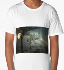 Lonely tree in the winter snowstorm Long T-Shirt