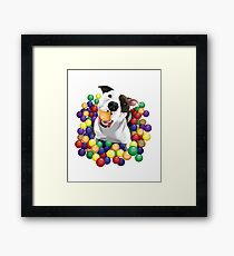 Pit Bull in a Ball Pit Cute Pet Pun Framed Print