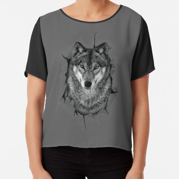 Awesome Realistic 3D Wolf Lover Popup Graphic Art Chiffon Top