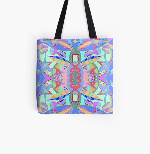 The earth song of leaves -blue All Over Print Tote Bag