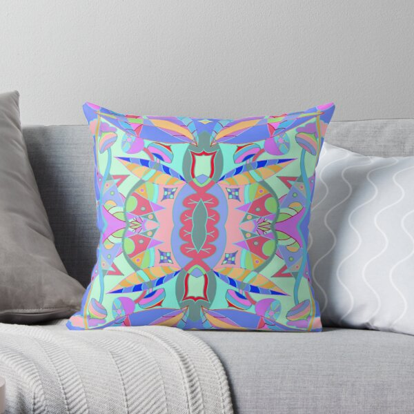 The earth song of leaves -blue Throw Pillow