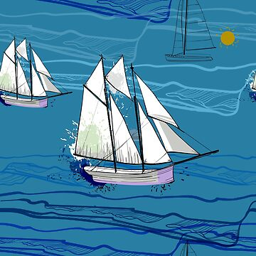 The sailing-ship on the sea by mnimpres