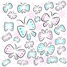 Pretty Abstract Butterflies Blue and Pink with Flowers by Shelly Still