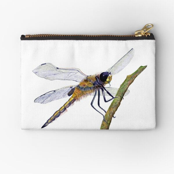 Hairy Dragonfly Insect Watercolor Painting Artwork Zipper Pouch