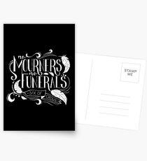 """""""Keine Trauernden. Keine Beerdigungen"""" Typografie Postkarten"""