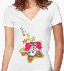 Retro Pink Poochie 80s Women's Fitted V-Neck T-Shirt